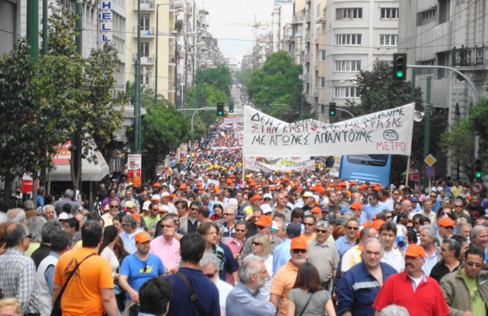 The Greek working class on the march through Athens during a General Strike