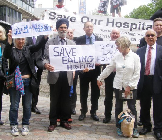 MPs, councillors and local residents demonstrated yesterday in Westminster to oppose the closure of the  A&Es in four West London hospitals – Ealing, Central Middlesex, Hammersmith and Charing Cross
