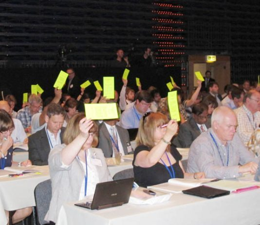 BMA delegates voting at their Annual Representative Meeting in Bournemouth