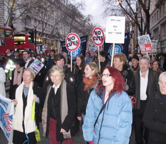 BMA members marching in central London against the Health Bill – the BMA has now demanded that Lansley resign
