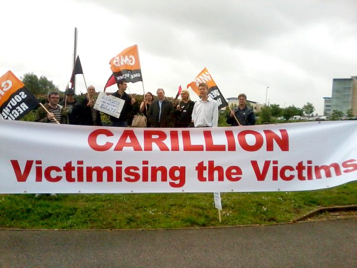 GMB members and supporters outside the Great Western Hospital in Swindon yesterday to show their support for the Carillion workers