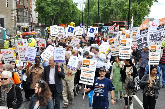 GMB Remploy workers on a march demanding more rights for the disabled