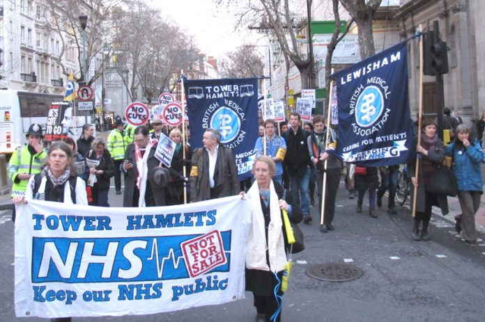 BMA demonstration to defend the NHS – doctors have demanded that Health Secretary Lansley resign