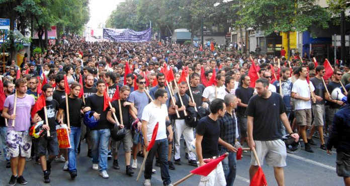 Greek youth lead a massive anti-austerity march in Athens