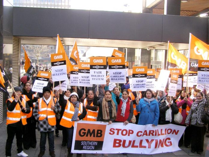 Great Western Hospital ancillary staff on strike against bullying. Carillion is a contractor for Semperian PPP