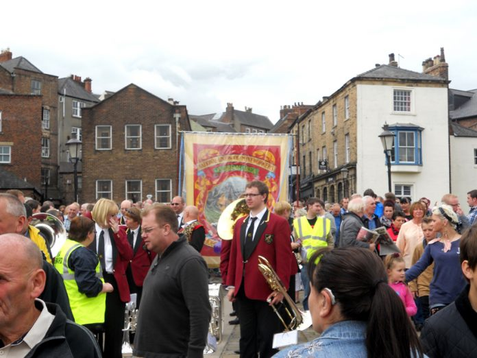 A small section of the march around the Durham Miners banner on Saturday
