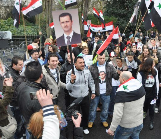 Syrians in London show their support for President Assad