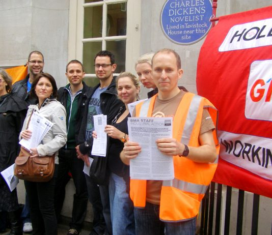 GMB members on strike outside the BMA head office in Tavistock Place, central London, yesterday