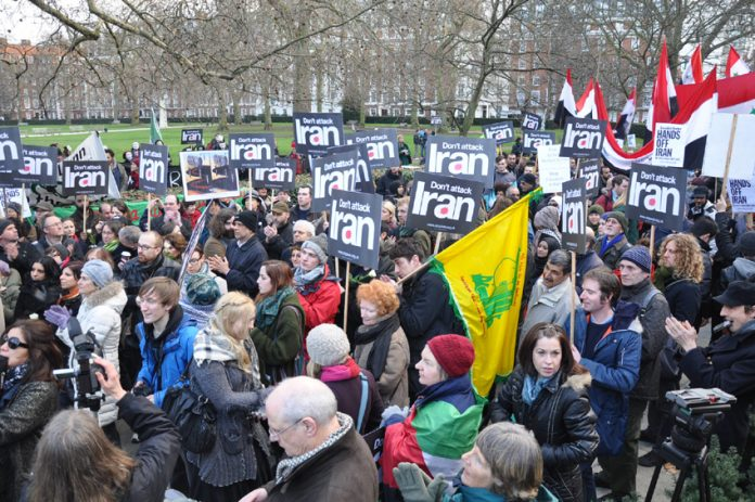 Demonstration outside the US embassy in London last January against any attack on Iran and Syria