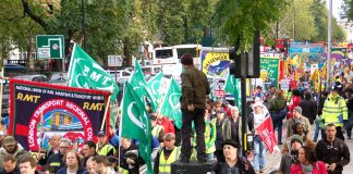 PCS members joined the RMT march against government spending cuts on October 23rd 2010