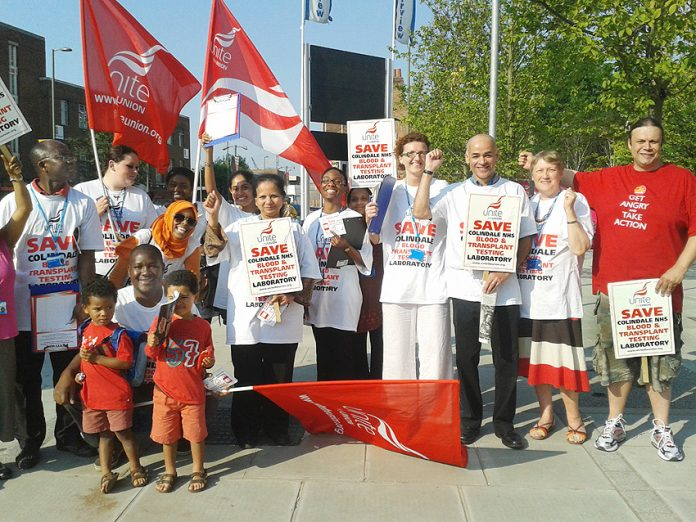 Blood-testing workers demonstrate to stop the closure of Colindale NHS Blood and Transplant Testing Laboratory
