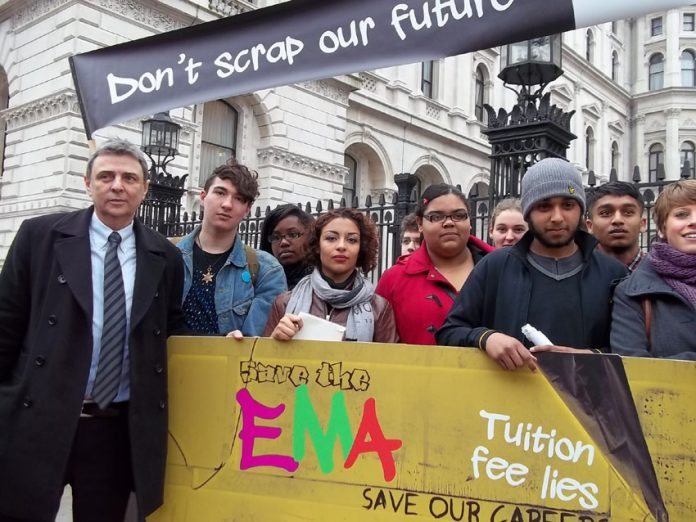 Students with Unison leader Dave Prentis lobbied Downing Street in March 2011 over the abolition of EMA