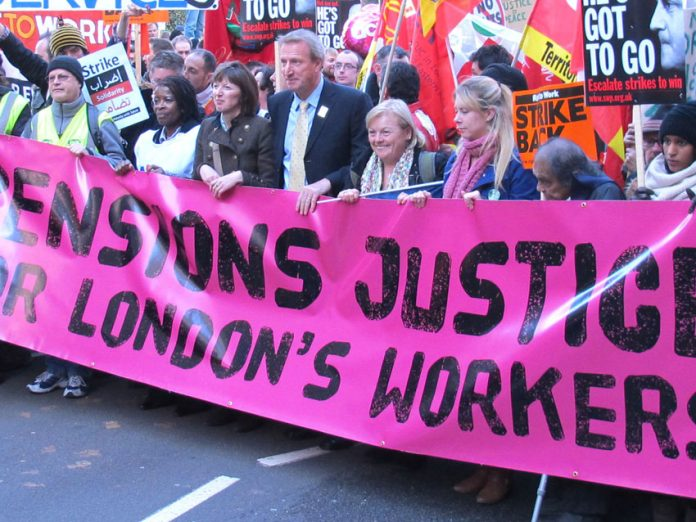 Teachers union leaders with the front banner on the huge London march during last November's pensions strike