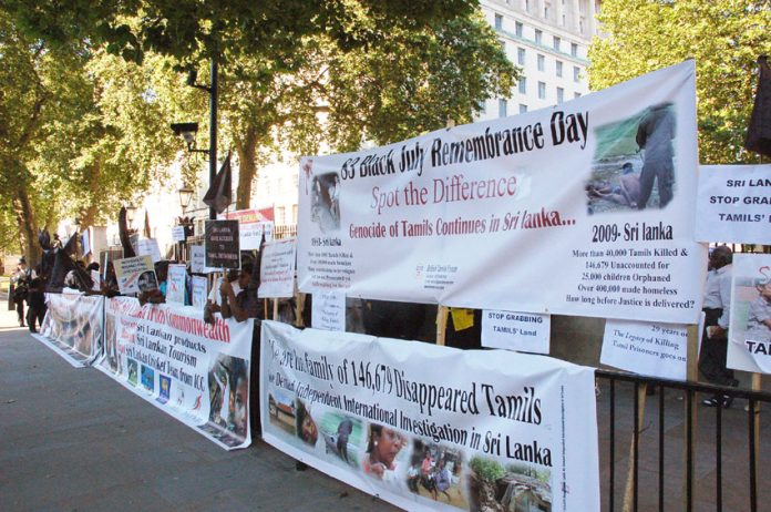 Tamils outside Downing Street on July 23rd remembering the 'Black July' massacre of 1983