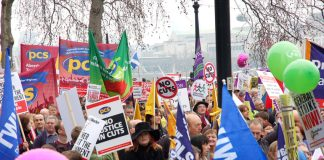 PCS banners on the 500,000-strong TUC demonstration on March 26 last year in London against the Coalition's cuts