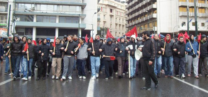 Greek youth march against austerity and police state measures such as the pogrom on migrant workers and their families