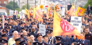 Firemen in London marching to defend jobs and halt cuts so as to be able to protect the lives and homes of Londoners. It is the same issue all over the country