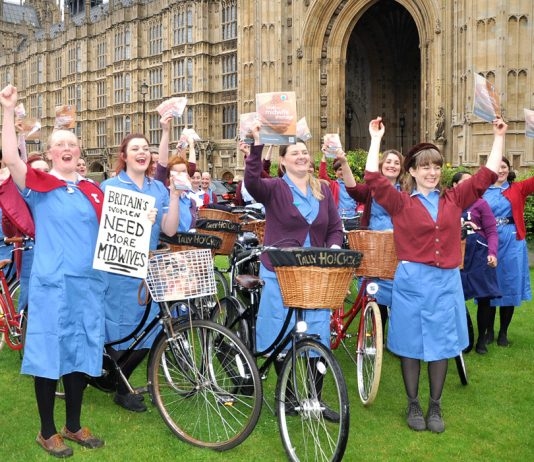 Midwives campaigning outside the House of Commons last month insisting that thousands more midwives are needed to provide a proper service