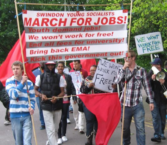 The front of the  Young Socialists march in Swindon for Jobs for Youth at trade union rates of pay