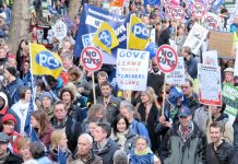 Teachers on the pensions strike with a message for Tory education secretary Michael Gove