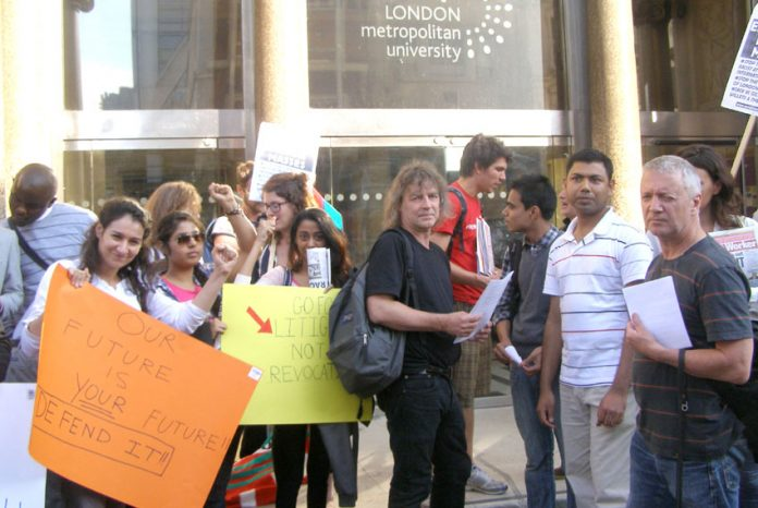 Students and lecturers outside the London Met Board of Governors meeting on Monday