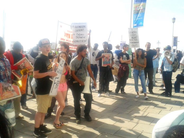 Young Socialists lobbying the TUC on Sunday demanding jobs for youth with trade union rates of pay