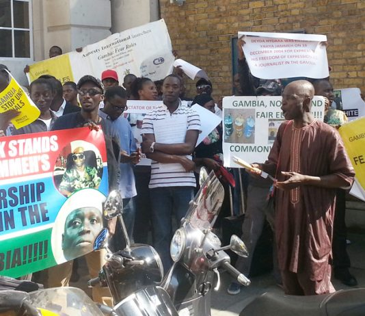 Rally near Downing Street on September 4 against the executions of death row inmates in Gambia