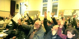 A unanimous vote in favour of the resolution from the 150-strong conference