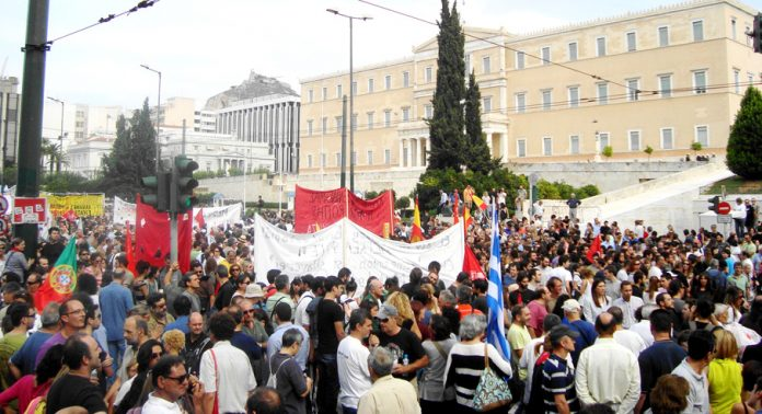 Syntagma Square rally in Athens last Tuesday opposing the visit of German Chancellor Merkel