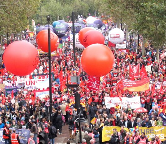 Masses assembling on the Embankment before setting off on Saturday