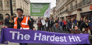 Disabled workers on last Saturday's TUC march