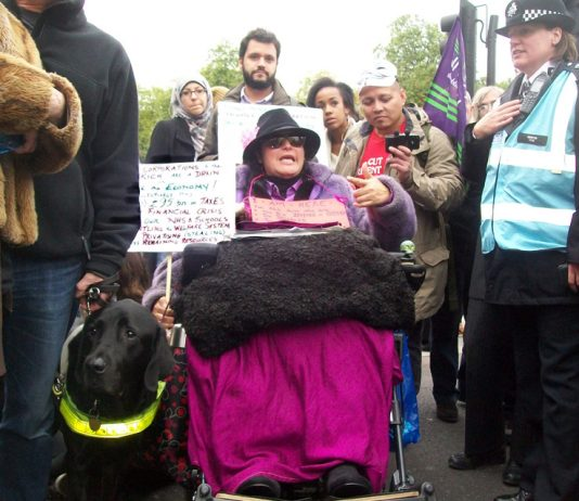 On last Saturday's TUC demonstration there was a great determination to defend the NHS. Picture shows a disabled campaigner  who blocked the road at Marble Arch to show her anger at the way disabled people are being treated by the coalition