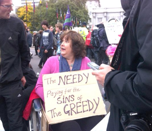 Disabled people blocked the road in a protest at Marble Arch, after last Saturday's TUC demonstration, against the way they are treated