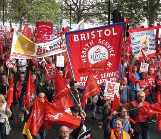 Bristol health workers on the TUC demonstration last Saturday – there is to be a demonstration against local low-pay plans  outside the Bristol Royal Infirmary on Tuesday