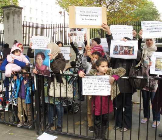 Women and children demonstrating outside Downing Street condemned the slaughter going on in Bani Walid