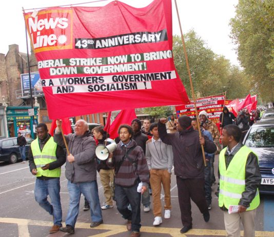 Young Socialists leading the march from Weavers Fields in Bethnal Green to the rally in Mile End