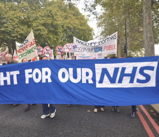 Banners from Lewisham BMA and Greenwich on the TUC demonstration against the government's austerity cuts on October 20