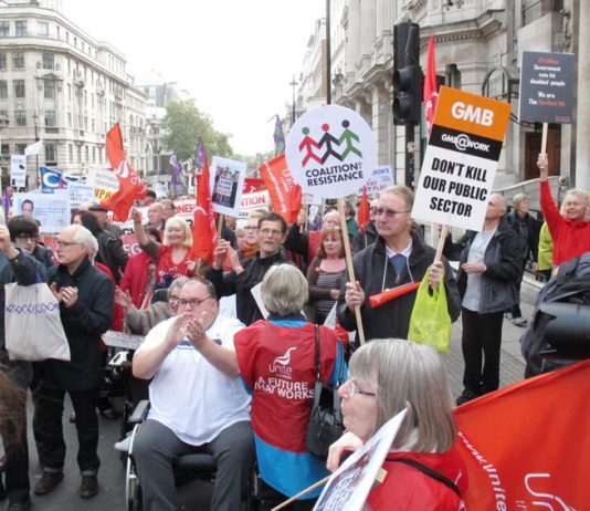A section of the TUC march on October 20th showing its determination to defend the NHS and the public sector