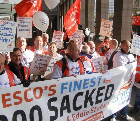 Over 50 Tesco distribution drivers on 90 days notice came down to Westminster yesterday to defend their jobs