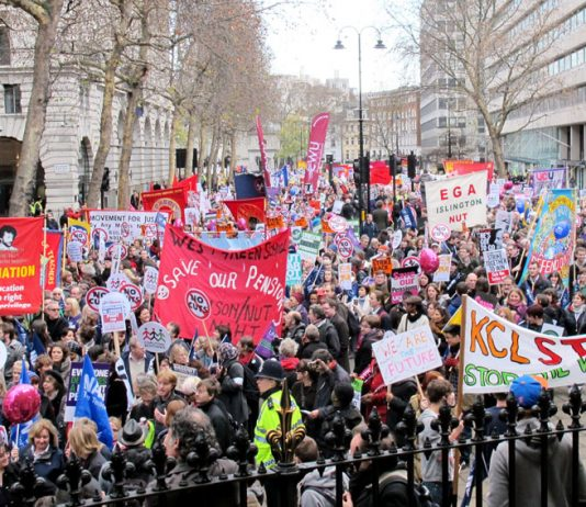Teachers unions marching in defence of their wages, pensions and state education against privatisation
