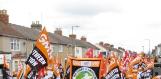 Swindon Hospital Carillion workers marching through the town