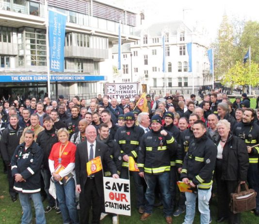 Firefighters outside Central Hall Westminster yesterday before going on to lobby MPs against plans to make savage cuts to the fire service