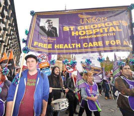 Health workers marched on the TUC demonstration on October 20th to defend free healthcare for all – now they are facing an avalanche of attacks and they are demanding the unions fight them