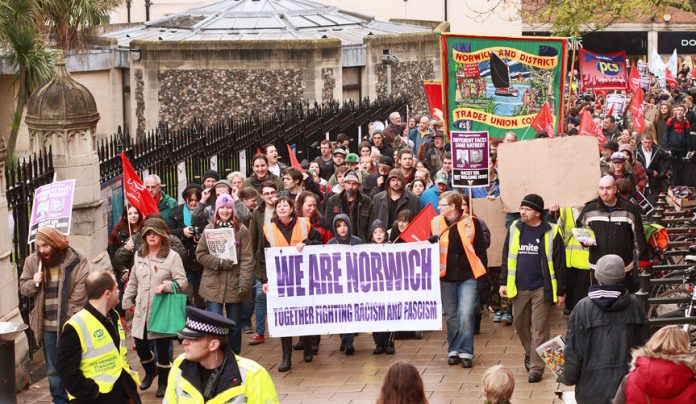 Over 2,000 workers and youth marched in Norwich on Saturday against the attempt by the English Defence League to intervene in the city