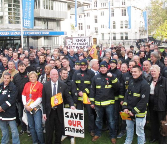 Firefighters outside Westminster Central Hall last Wednesday after the national FBU rally to oppose cuts in the fire service