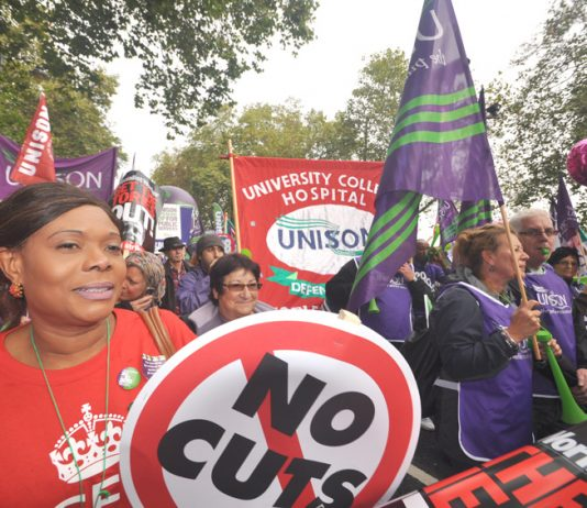 Huge numbers of hospital workers turned out on the TUC march on October 20th – they are battling to defend NHS jobs all over the country
