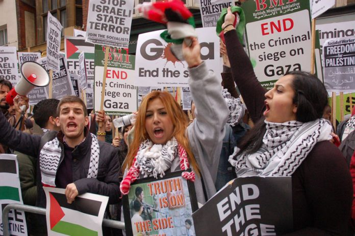 'Free Free Palestine! Israel is a terror state!' protesters shouted at the 2,000-strong picket of the Israeli embassy in London on Saturday