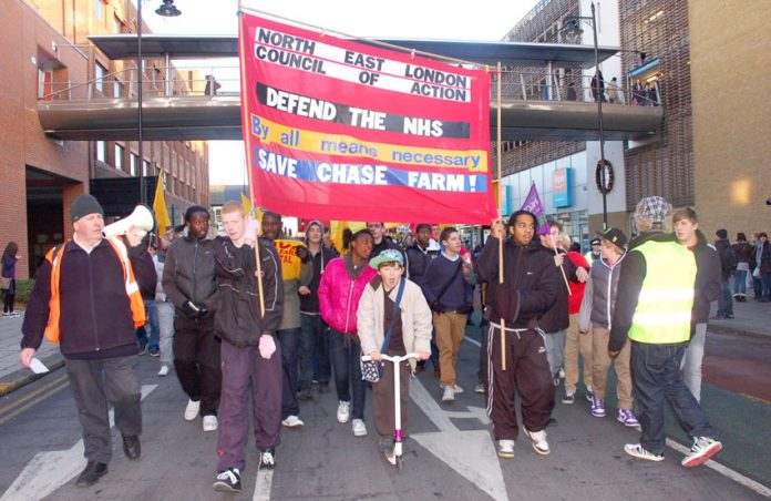 One of the many marches through Enfield demanding that Chase Farm Hospital be kept open