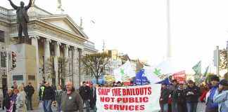 Dublin workers marching in defence of public services