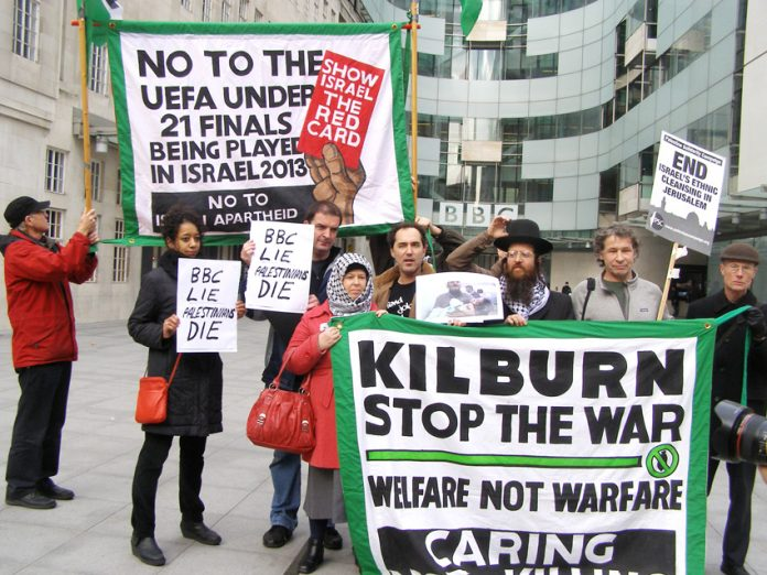 Demonstrators outside Broadcasting House yesterday lunchtime demanding an end to BBC bias in favour of Israel